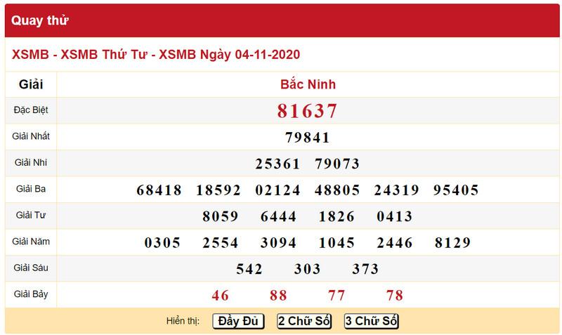 Kết quả quay thử xổ số miền Bắc ngày 4/11/2020